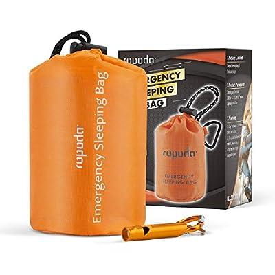 ROPODA Emergency Sleeping Bag Survival Bivy Sack - Use as Emergency Bivy Sack, Survival Sleeping Bag, Mylar Emergency Blanket-Includes Stuff Sack with Survival Whistle(Orange Color)
