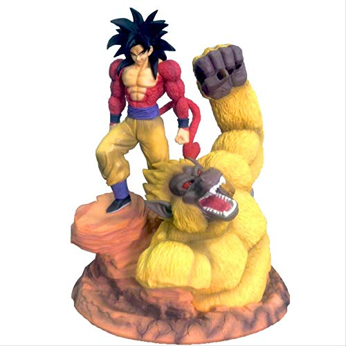 Dragon Ball Z Super Saiyan 4 Son Goku Gold Great Apes Scene Statue Resin Figure DBZ Figuras De Acción Modelo De Colección Toy(33Cm + Exquisita Caja De Regalo)