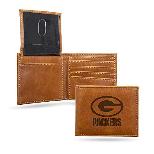 NFL Rico Industries Laser Engraved Billfold Wallet, Green Bay Packers