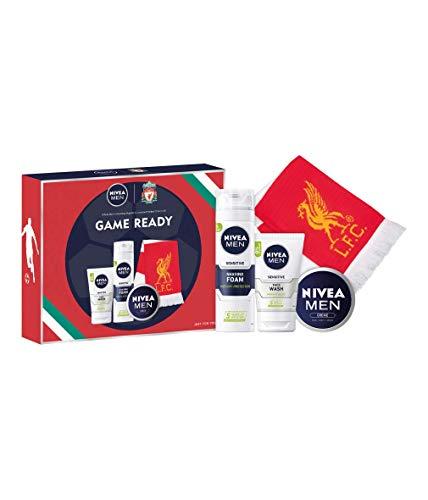 NIVEA MEN x LIVERPOOL FC Geschenkset Set für Männer, inclusive NIVEA MEN Sensitive Rasierschaum (200 ml), NIVEA MEN Sensitive Waschgel (100 ml), NIVEA MEN Creme (75 ml) und Fanartikel Fan LFC Schal