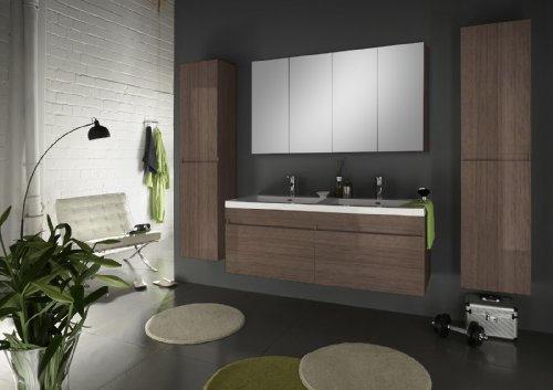 SAM® Badmöbel Set 4teilig Parma Deluxe 140 cm, Trüffel Eiche matt, breiter Spiegelschrank, Zwei Hochschränke, Doppelwaschplatz