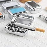 Posacenere, Posacenere tascabile Mini posacenere Posacenere in acciaio inossidabile Posacenere in metallo realizzato in latta Posacenere quadrato in metallo grigio Latta rettangolare con coperchio