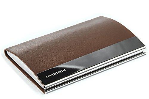 SMARTEON   Visitenkartenetui braun   Premium Visitenkartenhalter zur schonenden Aufbewahrung Ihrer Karten   Hochwertige Visitenkartenhülle aus Edelstahl inkl. Geschenkbox