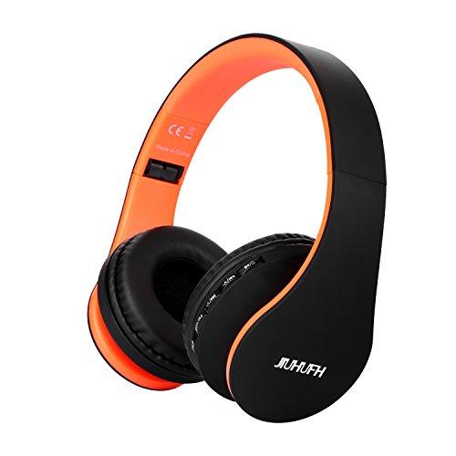 JIUHUFH Auriculares Inalámbricos por Encima del oído Auriculares Bluetooth con Micrófono Incorporado para PC/Teléfonos Celulares - Negro Naranja