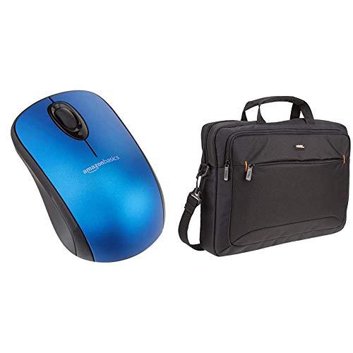 AmazonBasics Ratón inalámbrico con Receptor USB Nano, Color Azul + Maletín Compacto para portátil con Correa para el Hombro y Bolsillos para Accesorios (15,6Pulgadas, 40cm), Negro, 1Unidad