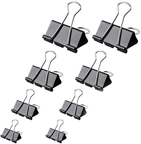 Pinzas de metal para papel de Bulldog, 15 mm, 19 mm, 25 mm, 32 mm, 4 tamaños, color negro (paquete de 60 unidades)