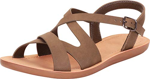 Cambridge Select Damen Sandale mit offenen Zehen, Crisscross Strappy, Grn (Light Olive Nbpu), 37.5 EU