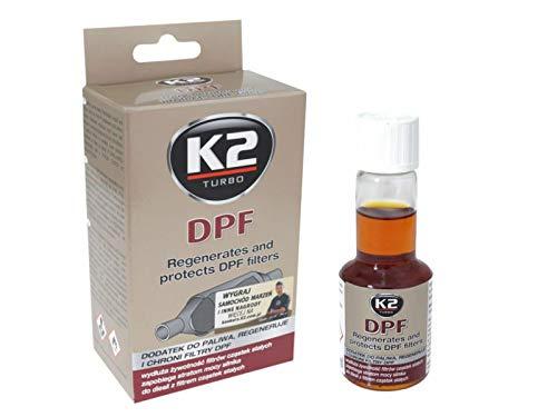 K2 - Aditivo para Motor Diesel para Filtro de partículas Diesel, Limpiador de inyectores, Limpiador de hollín del Filtro de partículas, 50 ml