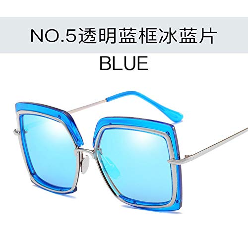 WDDYYBF zonnebril, metalen frame, rond, onregelmatige zomer, zonnebril, mannen, vrouwen, toerisme, glazen, U 400 winkelmandje, EIS, blauwe lens