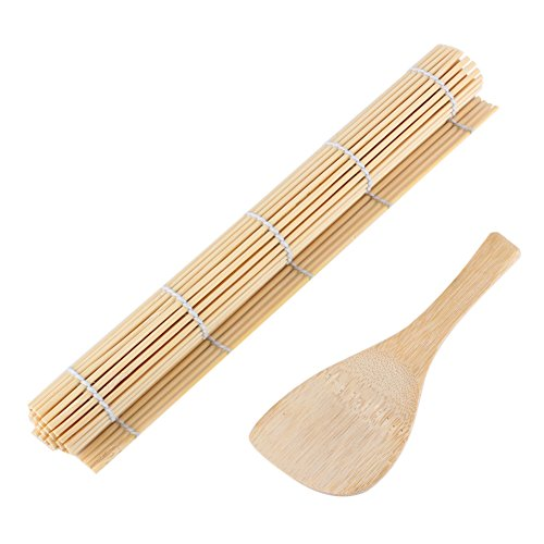 GLOGLOW Bamboo Sushi Making Kit 1 Sushi Rolling Mat e 1 Rice Paddle Sushi Square Roller Roller Mat più Riso Paddle Sushi Fai da Te Che Fanno Utensili Kit
