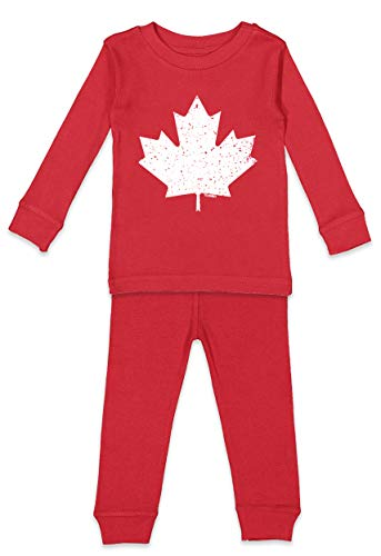 Canadian Leaf - Maple Canada Infant/Toddler Pajama Set (Red Top/Red Bottoms, 18 Months)
