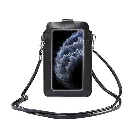 GUOQING Funda tipo cartera con clip para cinturón de teléfono, con ventana táctil, con correa ajustable para viajes, bolso cruzado (color: negro)