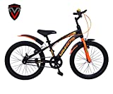 VAMOS V-100 Black Fluoro Orange 20 T Single Speed Kids Bicycle for Girls & Boys (Ideal for 7 to 9 Years)