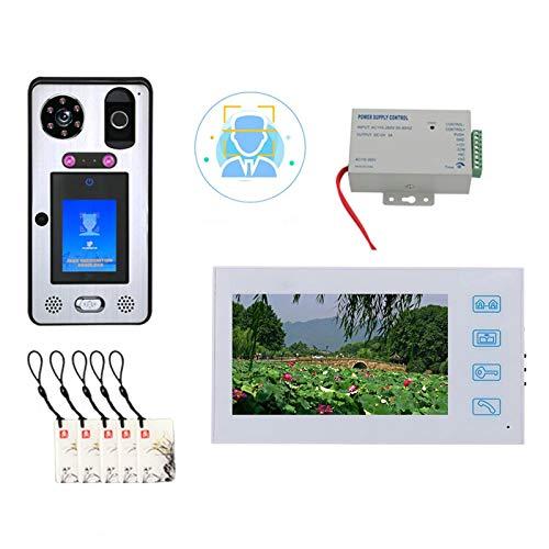 Timbre de video, Desbloqueo de contraseña de huella digital de reconocimiento facial, Videoportero, Intercomunicador, Cámara de visión nocturna RFID 1080P + Monitor de 7 pulgadas + Tarjeta IC