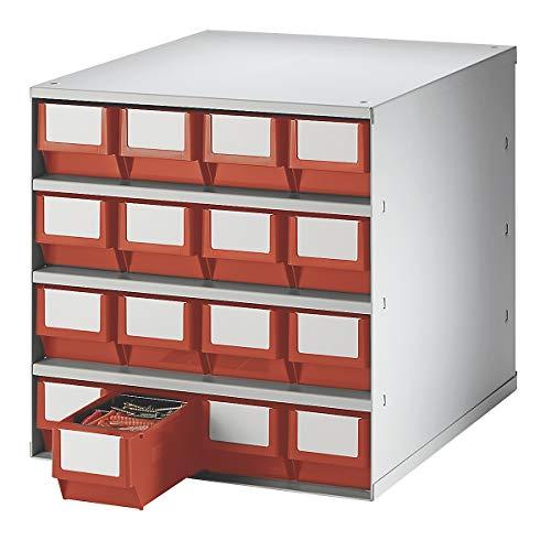 Bloc-tiroir, charge max. 75 kg - h x l x p 395 x 380 x 400 mm, 16 tiroirs - tiroirs rouges - bloc bloc transparent bloc-tiroirs blocs blocs transparents blocs-tiroirs compartiment pour petites pièces compartiments pour petites pièces système de stockage