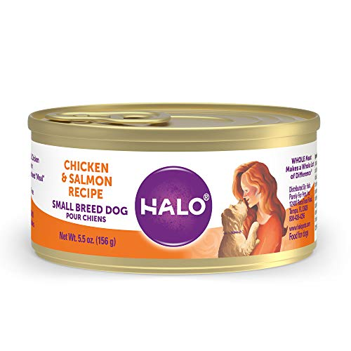 Halo Dog Food, Wet Dog Food For Small Dogs, Grain Free, Chicken & Salmon 5.5oz Can (Pack of 12)