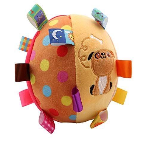 EJY Coloré Doux Boule Cloche Enfants Infantile en Peluche Hochets Jouets Bébé Main Saisir Balle Éducatifs Jouet,Chien