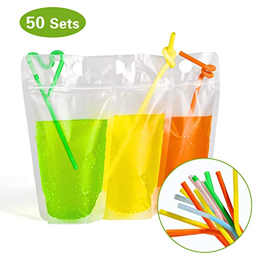 easonove Drink Staubbeutel Stand Up wiederverschließbaren Reißverschluss Trinken Beutel Taschen Hand Trinken Staubbeutel mit Kunststoff Stroh, (50Stück)