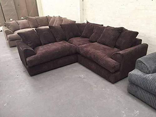 Jasper Jumbo Cord Corner Sofa Suite Chocolate Brown (LEFT HAND SID)