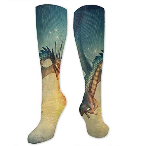 lucies Dragon In The Sky Mit Magical Flame Socken Athletic Socks Kniestrümpfe Für Männer Frauen Sport Lange Sockenstrümpfe 50CM