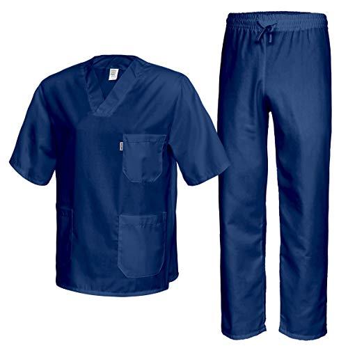 Best Uniform Pflegerbekleidung Kasack & Hose Kleidung Schwesternkleidung Medizin Labor Dunkelblau(MEDK) (M)