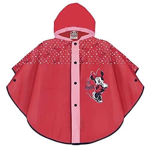 PERLETTI Chubasquero Niñas 2 3 4 5 Años Minnie Mouse - Poncho Impermeable Niña con Capucha Boton a Presión - Chaquetón para Lluvia Rojo Disney Minni - Ropa de Agua Antiviento Lunares (Rojo, 2-5 Años)