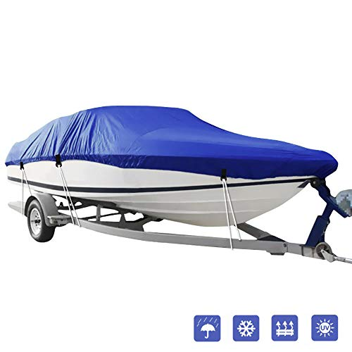 IC ICLOVER Boat Cover,Heavy Duty Waterproof Snowproof Anti-UV Trailerable Cover