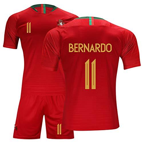 Camisetas de fútbol para hombre, camisetas del equipo local de la selección portuguesa, conjunto de camiseta de fútbol para niños y estudiantes, conjunto de camiseta de fútbol No. 11 Bernardo-red