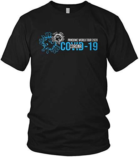 Pandemic World Tour 2020 - Coronavirus 2020 COVID-19 lustiges Motto Motiv Spruch Shirt - Herren T-Shirt und Männer Tshirt, Größe:5XL, Farbe:Schwarz/Blau