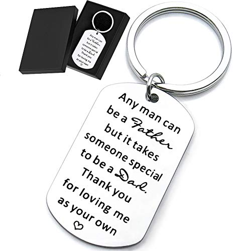 Step Dad Father's Day Gifts Keychain, Personalized Stainless Steel Key Ring Dog Tag for Men New Father in Law from Daughter Son, Thanksgiving Birthday Wedding Christmas Valentine's Day Presents