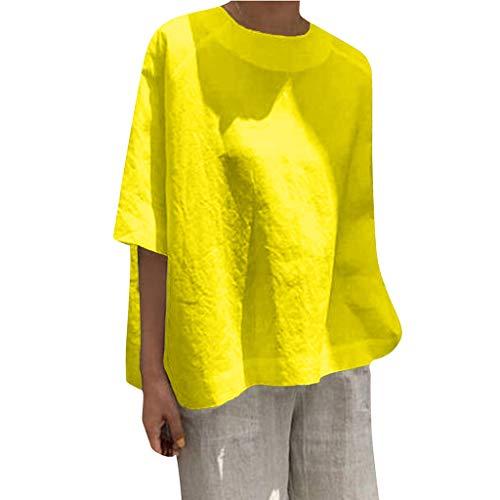 LOPILY Leinen Oberteile Damen Lässige 1/2 Arm Bluse Basic Einfarbige Tunika Große Größen Long Shirts Damen Herbst Luftige Lockere Blusentops Damen Dünne Sweatshirts 50 48 (Gelb, 50)