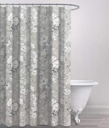 ENVOGUE Home Grey & White Modern Neutral Soft Muted Floral Cotton Fabric Shower Curtain, Lovely Elegant Sophisticated for Bathroom Bathtub Shower Curtain in Master, Guest Bathroom Chic Home Decor