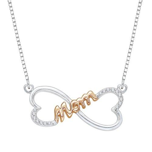 Colgante de corazón doble 'MOM' de diamante con cadena en dos tonos de plata de ley (1/10 quilates)