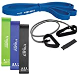Aduro Sport Resistance Bands Set Exercise Bands for Working Out 3 Resistance Loop Bands, 1 Pull Up Band Tube, 1 Super Loop Band, Door Anchor Total Body Resistance Kit