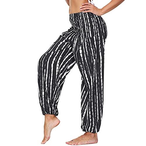 Nuofengkudu Mujer Harem Hippies Yoga Pantalones Sueltos con Bolsillos Boho Flores Estampados Tailandeses Indian Pants Verano Playa Talla única A-Negro Blanco