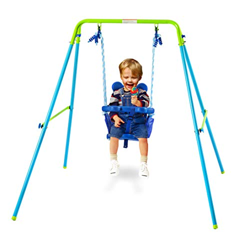 Hysport Toddler Swing Set Indoor/Outdoor Folding Metal Swing Set with Safety Belt for Baby Chirldren