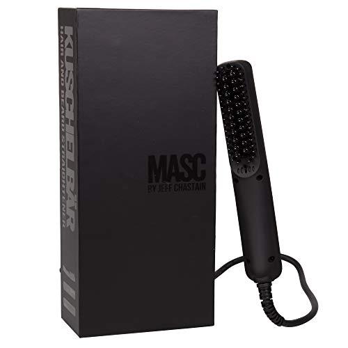cepillo para polvo alisador de barba climatizado de Masc por Jeff Chastain, alisa tanto la barba como el cabello, compacto y de doble voltaje para viajes y uso doméstico