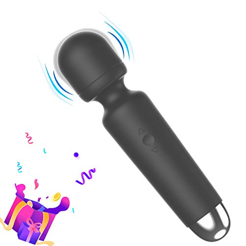 MINC Mini Handheld Wireless Personal Massager, Wand Massager with10 Vibration Modes for Back Neck, Shoulders Legs, USB Rechargeable Massage Wand (Black)