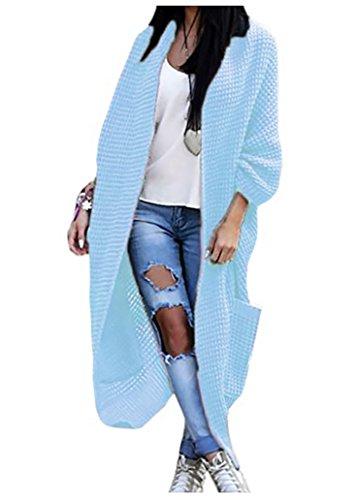 Mikos Damen Strickjacke Pullover Pulli Jacke Oversize Boho S M L XL (629) (One Size, Hellblau)