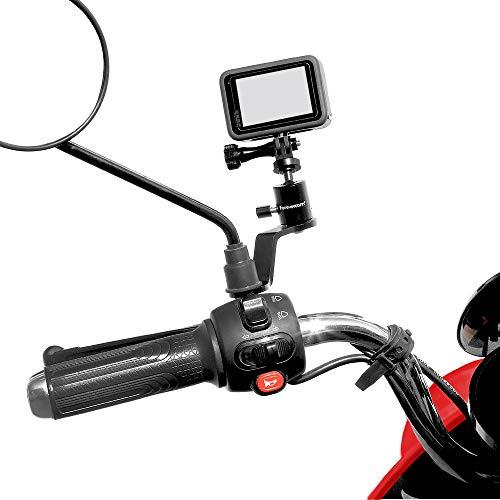 Supporto per specchietto retrovisore in alluminio a 360° Roation Metal Holder Staffa morsetto compatibile per Max Hero 9/8/7/6/5, YI, AKASO, SJCAM, DJI Osmo e altre fotocamere d'azione