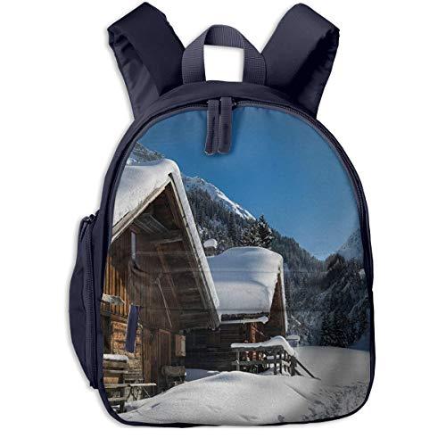 Bolsa La Escuela Mochila con Casas Montañas austriacas Nevado Impermeable Mochilas para Niños Niñas