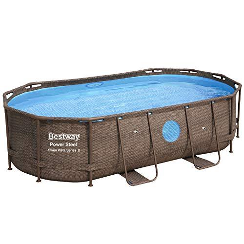 Bestway Power Steel Swim Vista Frame-Pool, 427 x 250 x 100 cm, oval, Rattan-Optik, 7.250 Liter, ohne Pumpe und Zubehör, Ersatzteil, Ersatzpool, mit Sichtfenster