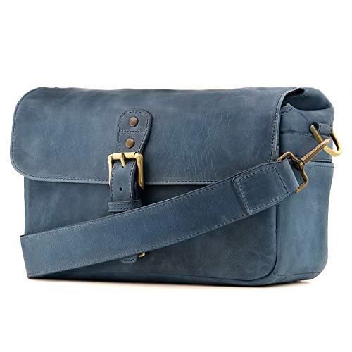 MegaGear Torres bolsa de couro genuíno para câmeras sem espelho, instantâneas e DSLR, Azul