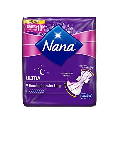 Nana Ultra Goodnight - Serviette hygiénique pour la nuit (Lot de 2 paquets de 9 serviettes)