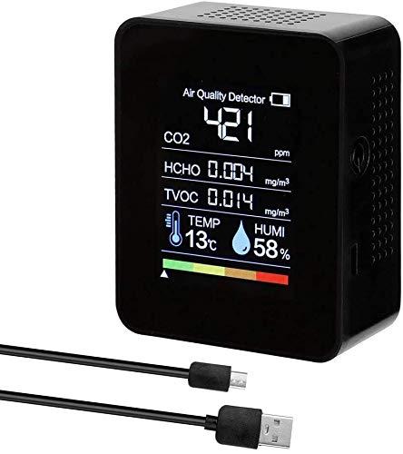 hsj Detector de gas 3 en 1 portátil detector de calidad del aire medidor digital de temperatura y humedad probador para el hogar, coche, al aire libre rancho advierte (color: negro)