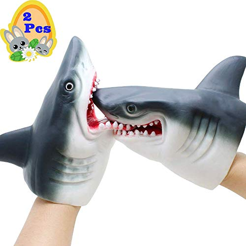Gemini&Genius Marine Animal World Shark Hand Puppets for Kid Soft Rubber Realistic Action Figures Great White Shark Role Play Toy (2Pcs Sharks)