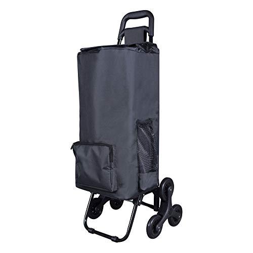 LOMOS Stabiler klappbarer Einkaufstrolley mit Treppensteiger-Funktion, in schwarz, für jung und alt