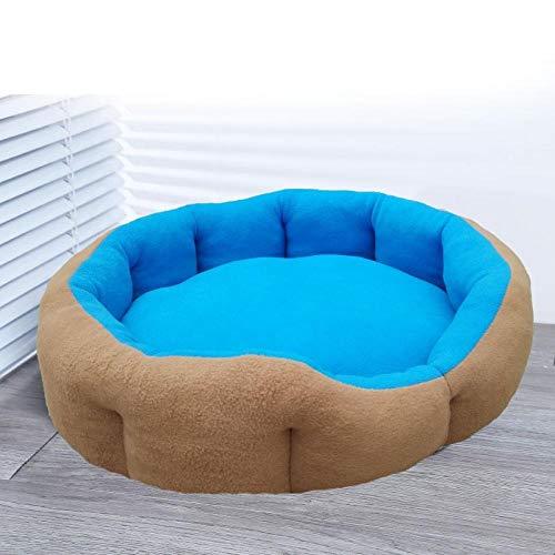 Puppy's nest, levert slaapmat, hondenmand, universele vier seizoenen, Chihuahua kleine hond, (blauw + bruin)-Meerblauw afneembaar_S Small Send Blanket Mats Molar Rope Toy Ball