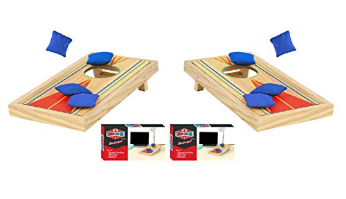 Tabletop Mini Corn Hole Bean Bag Toss Game, Brown -2 Boards, 8 Bags – Office, Birthdays, Family, Travel Party Time Fun