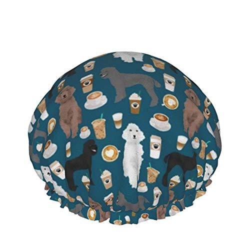 Gorro de ducha reutilizable para mujer, impermeable, para salón de belleza, spa, caniches de café, color azul zafiro